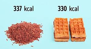 100 г кафяв ориз = 2 виенски вафли