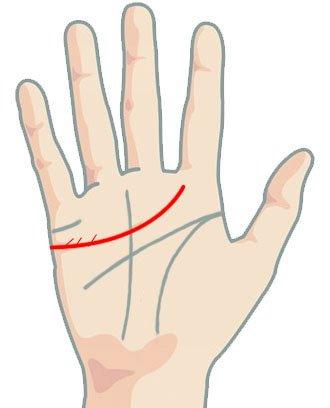 Линия на сърцето - гънки на перо само над линията